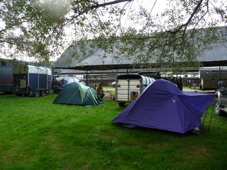 David Lewis (Arberth Flock) and our camp at Shropshire West Mid show [2009]